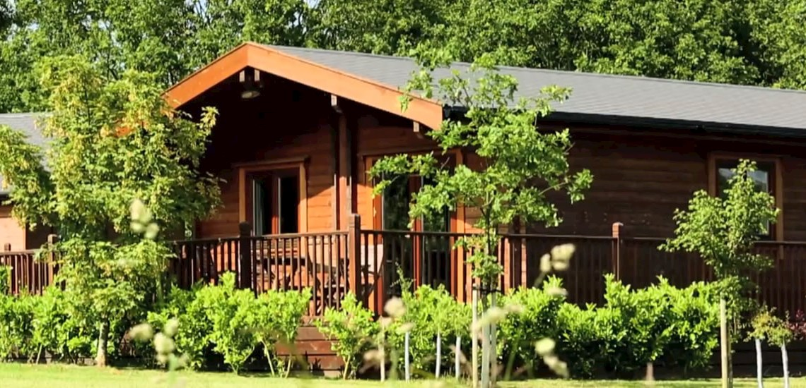 One of our woodland lodges from the outside